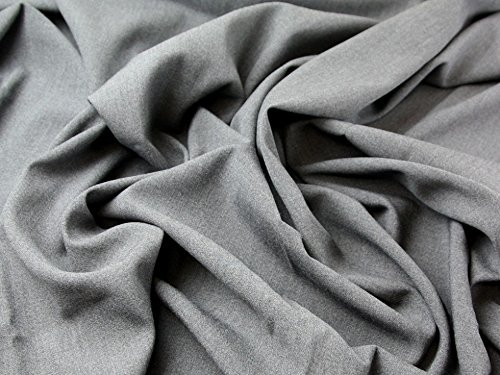 (Italian 100% Wool Twill Suiting Dress Fabric Grey - per metre)