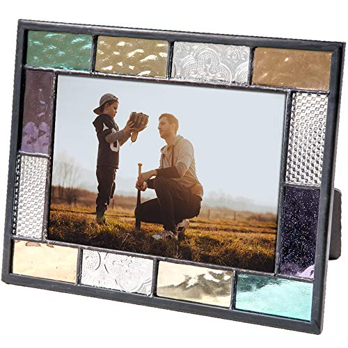 J Devlin Pic 386-46HV Stained Glass 4x6 Picture Frame Blue Green Purple Amber Photo Easel Back