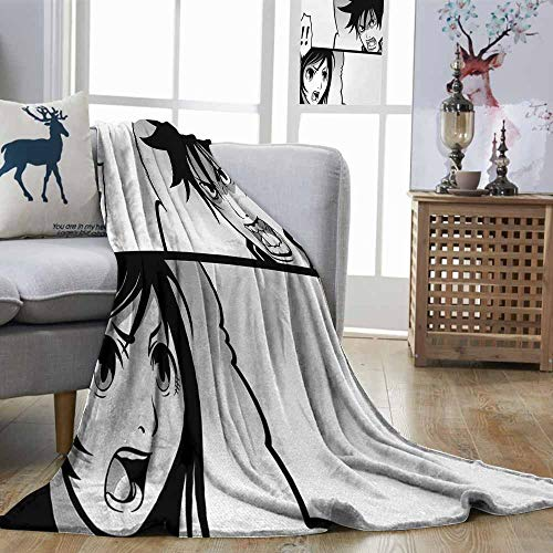 DILITECK Anime Super Soft Blanket Japanese Comics Strip with Boy and Girl Fight Scene Manga Image Cartoon Print Easy Travel Black White Gray W93 xL71