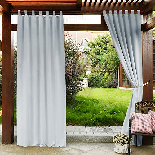PONY DANCE Indoor Outdoor Curtains - Tab Top Solid Patio Light Block Wind Keep Out Curtain for Front Porch/Garden, 52 in Wide by 84