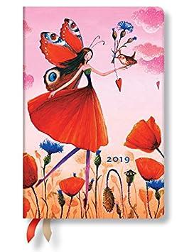 Paperblanks Agenda 2019 con marcapáginas. & Bolsillo Interior | Campo de amapolas de | Semana para Semana (Horizontal) | Mini (140 x 95 mm)