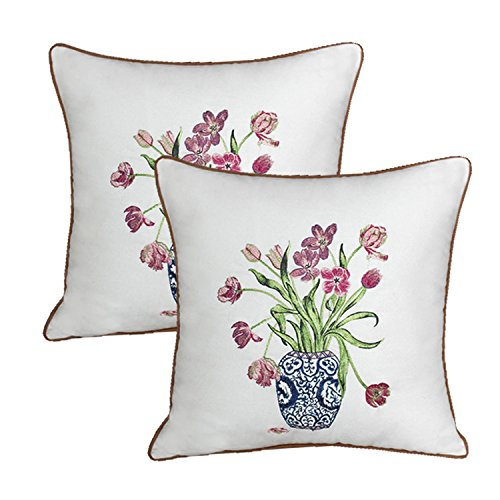 Queenie® - 2 Pcs Traditional Chinese Blue & White Porcelain Series 100% Cotton Embroidered Decorative Pillowcase Cushion Cover Throw Pillow Case 18 X 18 Inch 45 X 45 Cm (2, -