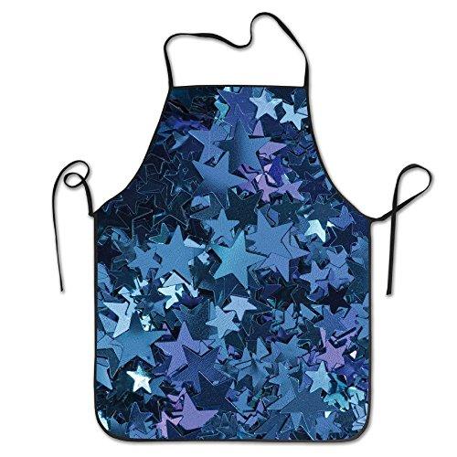 Fashion Adjustable Kitchen Chef Apron Glitter Sparkle Stars Polyester Home Apron Bbq Apron