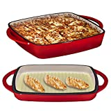 2 in 1 Enameled Cast Iron Square Casserole Baking Pan With Griddle Lid 2 in 1 Multi Baker Dish 11'' - Fire Red