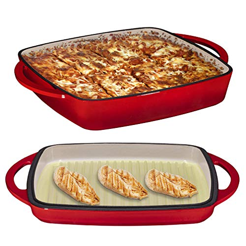 2 in 1 Enameled Cast Iron 11 Inch Square Casserole Baking Pan With Griddle Lid 2 in 1 Multi Baker Dish, Fire - Enamel Dish Casserole