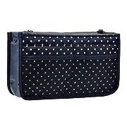 Purse Organizer,Insert Handbag Organizer Bag in Bag (13 Pockets 15 Colors 3 Size) (M, Navy Blue Dot)