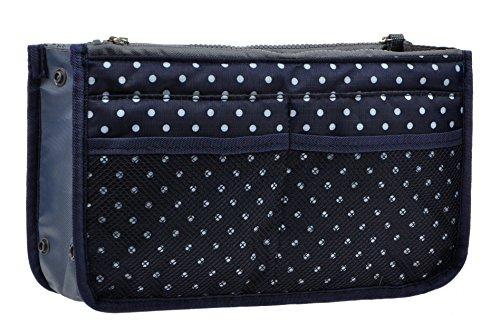 Purse Organizer,Insert Handbag Organizer Bag in Bag (13 Pockets 15 Colors 3 Size) (S, Navy Blue Dot)