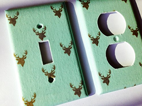 Mint Green Metallic Gold Deer Light Switch Plate -Various Sizes Offered