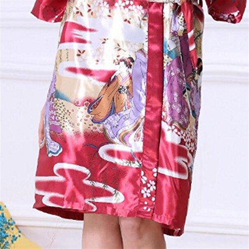 camicia da stampato Medium elegante BOBOJW pigiama Blue notte rilassante Red estate Wine maniche large accappatoio vestaglie qzzt8wx