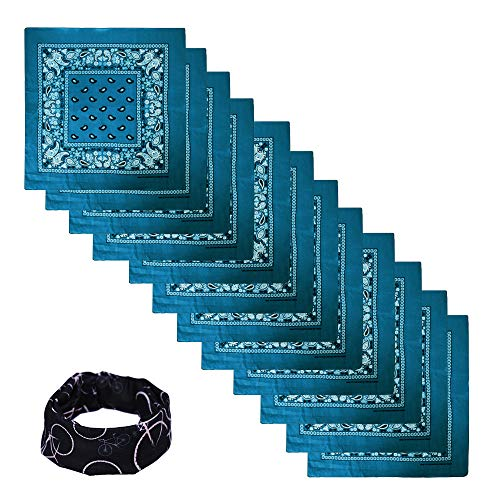 Scout Flower Ring - Basico 100% Cotton Head Wrap Bandanas 12 Pack with Tube Face Mask/Headband (12pk Paisley- Turquoise)