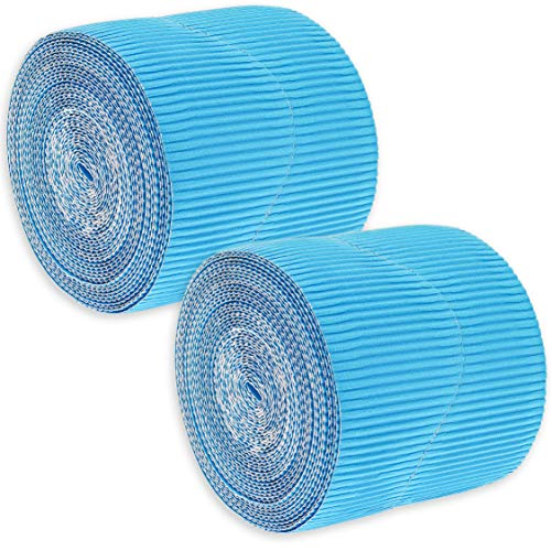 Juvale 2-Rolls Blue Bulletin Board Scalloped Border Decoration for Classroom, 2 Inches x 50 -