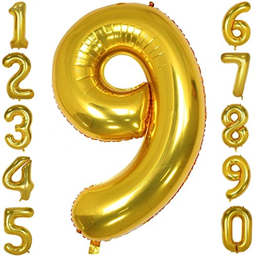 40 Inch Gold Big Number Balloons Mylar Foil Large Number 9 Giant Helium Balloon Birthday Party Decoration