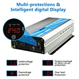Giandel 1600W Power Inverter 24V DC to 120V AC with 20A Solar Charge Control and 2xAC 110-120V US Outlets and 1x2.4A USB and Remote Control PM-1600KSC//24V