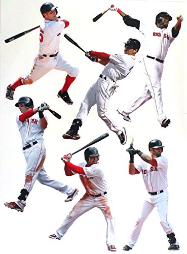 FATHEAD Boston Red Sox Team Set 6 Players Official MLB Vinyl Wall Graphics - Includes DAVID ORTIZ, DUSTIN PEDROIA, Each Player 8
