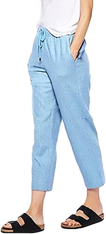 Pantalones Mujer Elegantes Moda Casual Anchos Comodos Tallas Grandes Cintura Elastica Ropa Pantalon Lino Amazon Es Ropa Y Accesorios