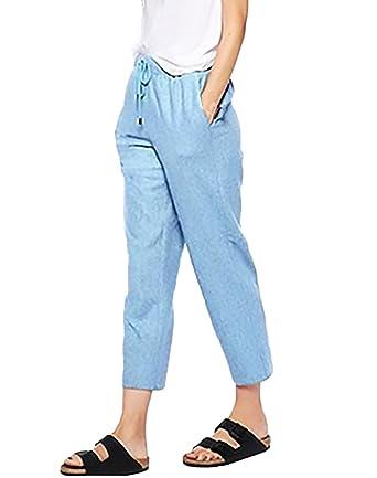 04a00b2a76b3 Huixin Hosen Damen Frühling Elegant Fashion Einfarbig Casual Locker Bequeme  Große Größen 7 8 Hose Leinenhose Freizeithose Bekleidung  Amazon.de   Bekleidung