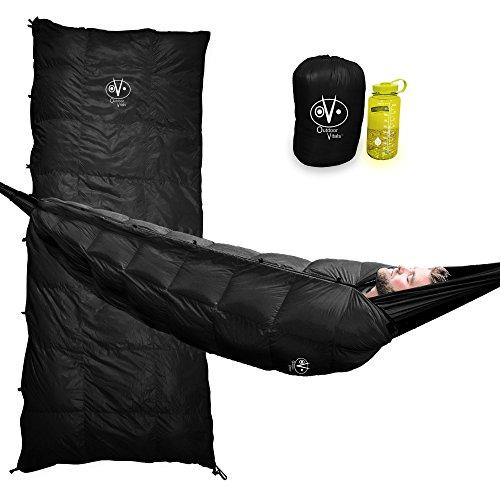 Outdoor Vitals Aerie 20F Down Underquilt/Sleeping Bag, Use As Ultralight Underquilt, Sleeping Bag, Or Double Bag (Black, Regular)