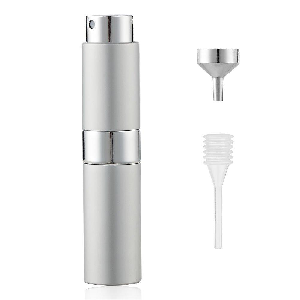 Lisapack 8ML Atomizer Perfume Spray Bottle for Travel, Empty Refillable Cologne Dispenser, Portable Sprayer for Men and Women (Silver)