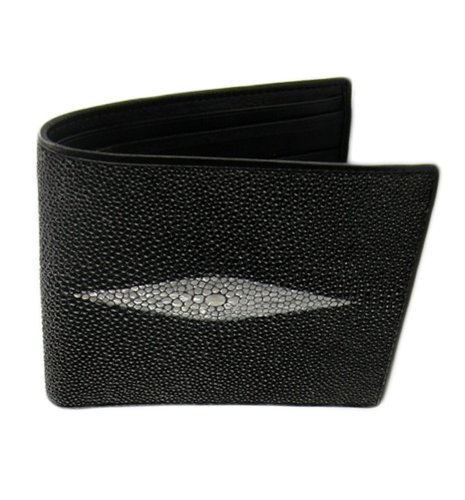 classic-genuine-stingray-leather-bi-fold-wallet-w-left-flap-black