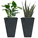 Tall Planters 26'', Flower Pot Pack 2, Patio Deck Indoor Outdoor Garden Tree Planters, Black, Unbreakable Resin