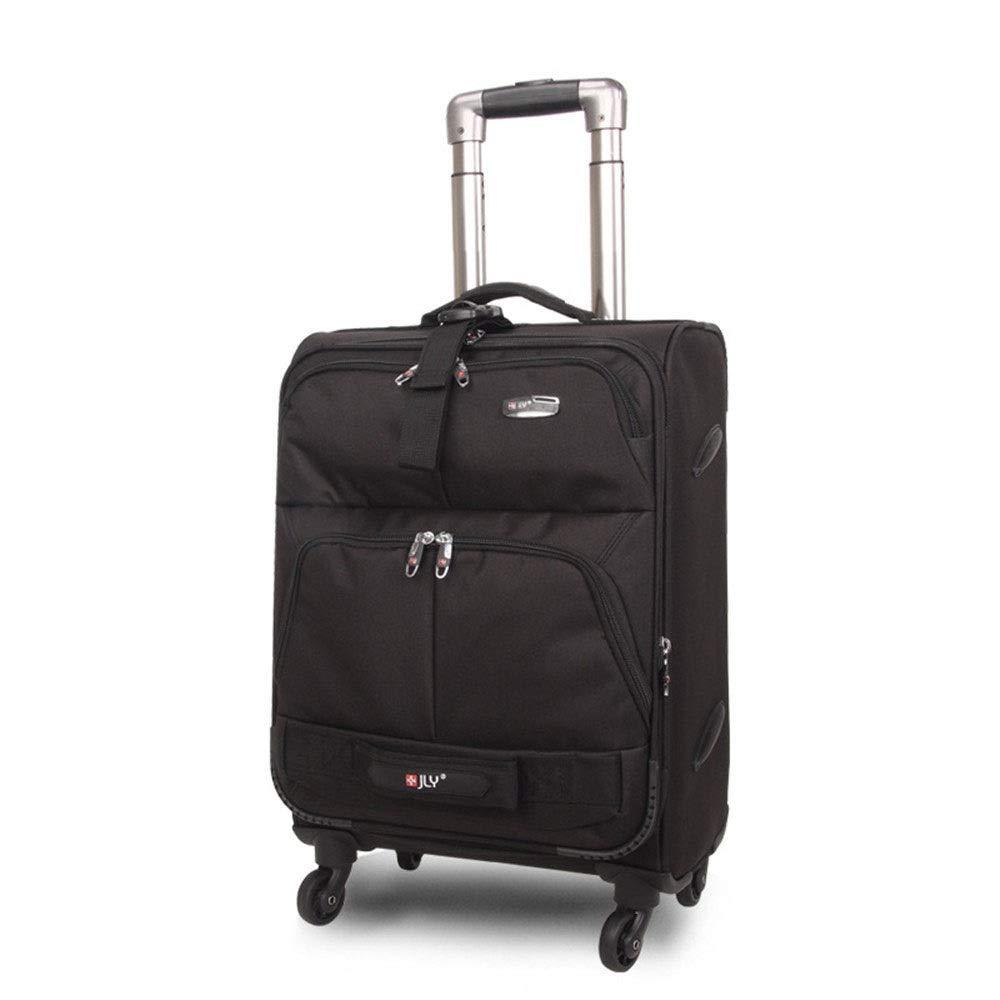 スーツケース カジュアルソフトボックス18/23トロリースーツケース男性と女性ユニバーサルホイールナイロンチェック布箱黒スーツケース 大容量旅行スーツケース (Size : 23inches) B07RRM6W1X  23inches