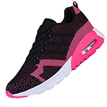 KUIBU Women Lightweight Sport Breathable Slip-On Platform Toning Shoes Mesh High Heel Sneaker Athletic