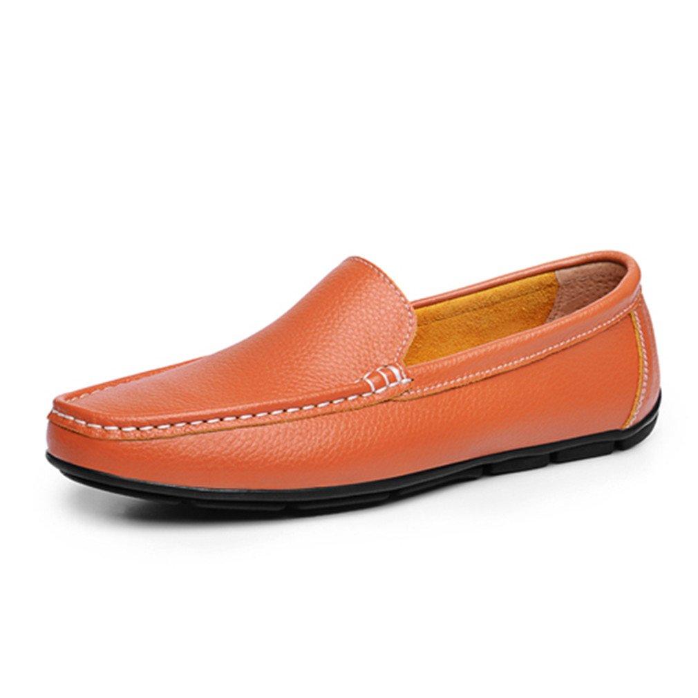 Bridfa Zapatos planos de los hombres Zapatos de cuero dividido Mocasines Zapatos de conducción de los hombres al aire libre transpirable Slip-On negro sólido 9|Brown