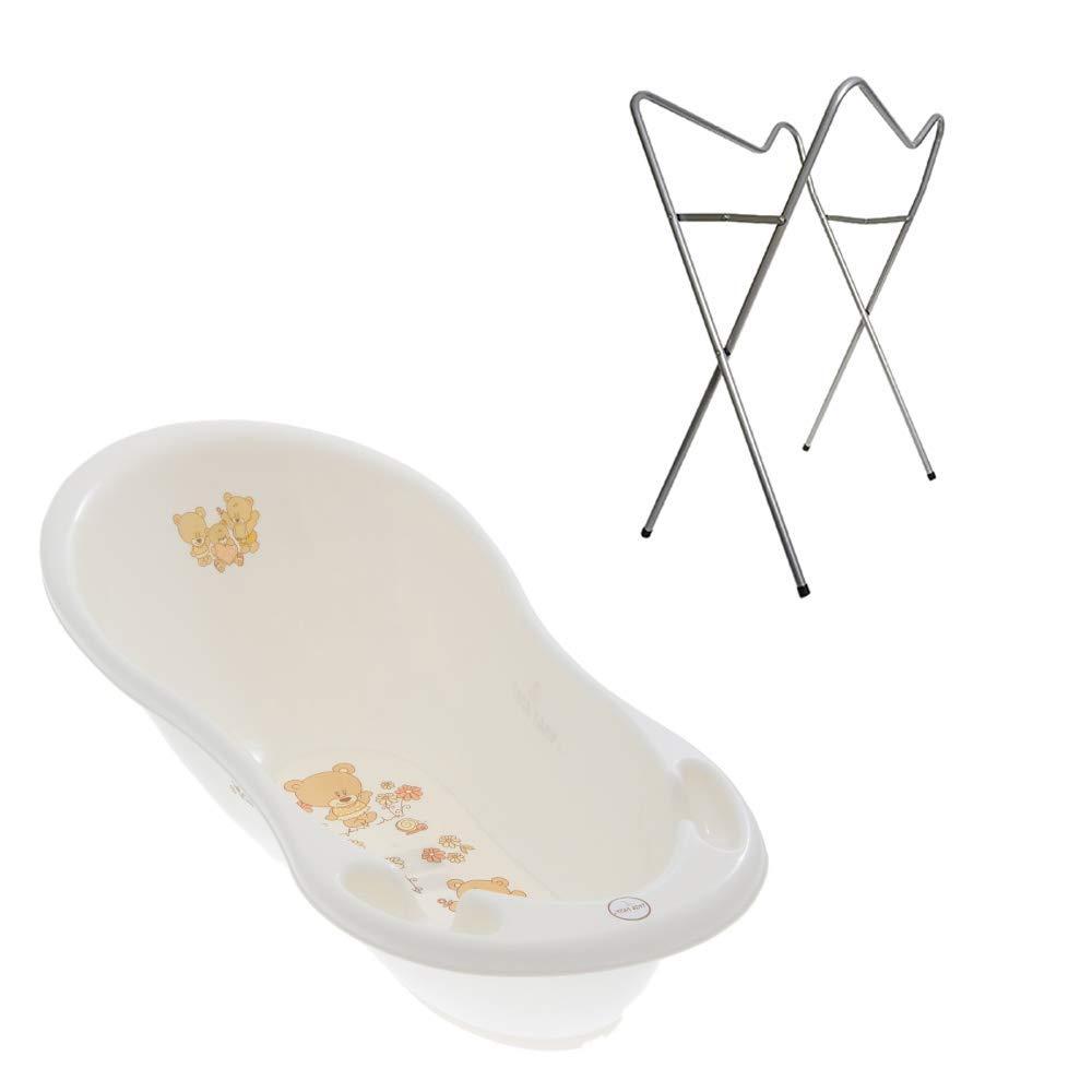 St/öpsel zum Wasserablassen Abfluss und Integriertem Thermometer Babybadewanne 0-12 Monate Tega Baby /® ergonomische Badewanne 86cm SET 3-teilig mit faltbarem Gestell wei/ß Motiv:H/äschen