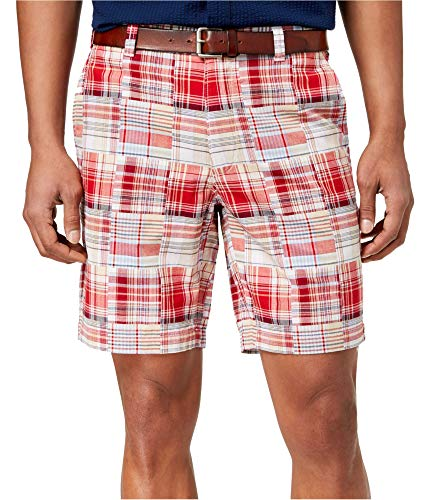 Club Room Mens Plaid Print Classic Fit Madras Shorts Red 34]()