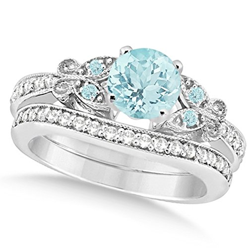Preset Butterfly Aquamarine and Diamond Engagement Ring and Band Bridal Set 14k White Gold 1.45ctw