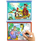 Aqua Doodle,Reusable Water-Reveal Activity Pads 2-pk 16 Pages Water Coloring Books Aqua Drawing Painting Toy Travel Kits with Bonus Pens for Kids (Zoo&Dinosaur)