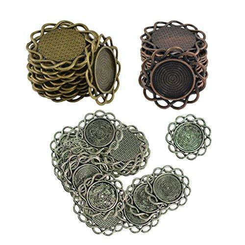 (MonkeyJack 60pcs Vintage Bronze Boho Style Alloy Round Flower Pendants Cabochon Bezel Settings Connectors)