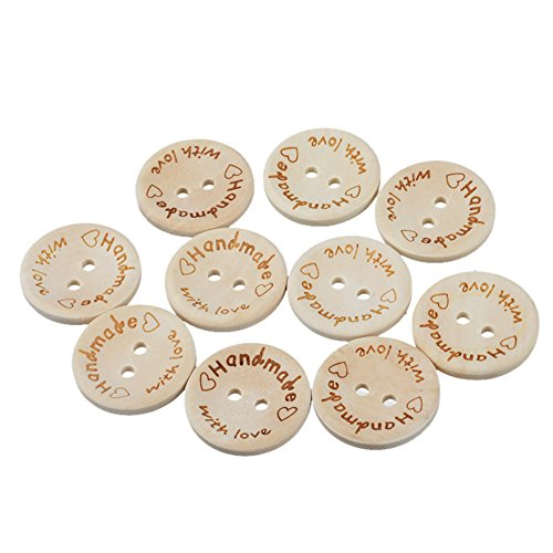 MAXGOODS 100Pcs Natural Wood Color Handmade Love Heart Tag Label Wooden Shaped Embellishments Ornaments, Craft Decorations with 2 Holes Button Sew Accessories Scrapbooking Clothing Leather (25mm)