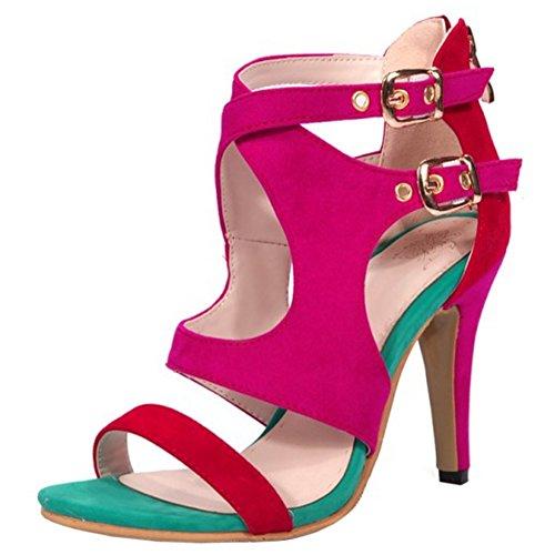 COOLCEPT Mujer Western Moda Tacon Alto Ankle Strap Cremallera Sandalias Rojo