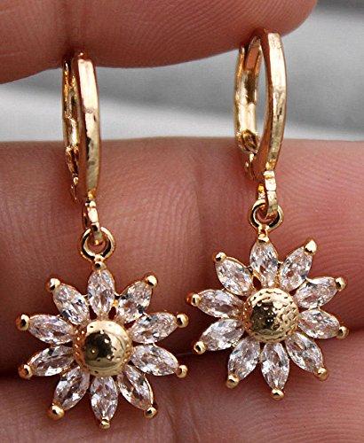 YorYing 18K Yellow Gold Filled - Sunflower Clear Teardrop Topaz Zircon Party Earrings ()