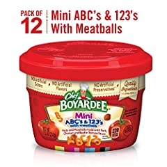For a fun and tasty treat, try Chef Boyardee Mini ABC's & 123's with Meatballs. Each meal has fun pasta shapes and meatballs in a creamy tomato sauce for a pasta combo your little ones are sure to love. All of this is packed into a microw...
