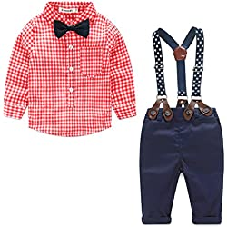Baby Boy Gentleman Bow Tie Long Sleeve Shirt+Suspenders Pants Outfit Set