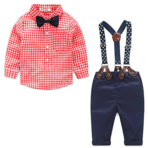 Baby Boys Gentleman Long Sleeve Plaid Shirt and Suspender Pants Set (Toddler Boy Christmas Outfits)