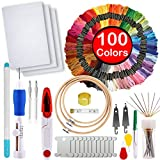 Full Range of Magic Embroidery Pen Punch Needle,3 Pieces Bamboo Embroidery Hoops,100 Color Threads and Cross Stitch Tool Kit, 2 Pieces 12 by 18-inch 14 Count Classic Reserve Aida