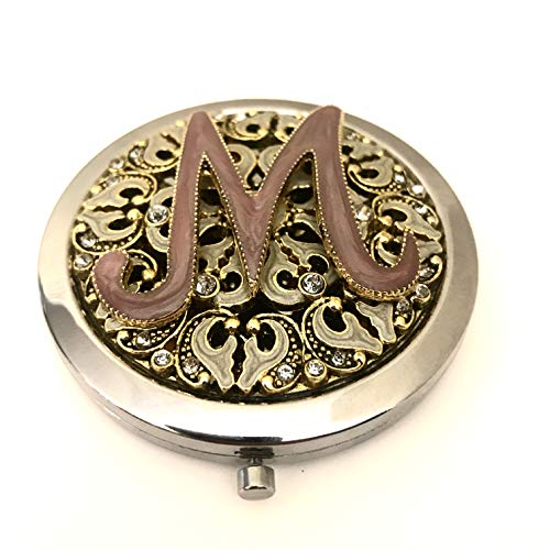 Vintage Jeweled Novelty Compact Purse Mirror Compact for Women Gold, Silver, Pink, Crystal Initial Monogram M, 2.75 inches Dia ()