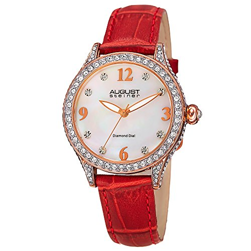 August Steiner Women's AS8188RD Rose Gold Crystal Accented Quartz Watch with White Mother of Pearl Dial and Red Embossed Leather Bracelet ()
