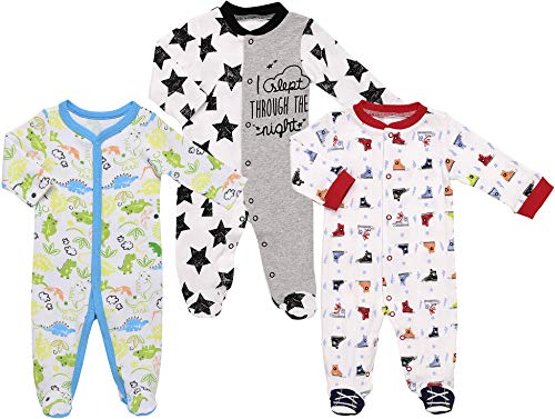 Mini B. by Baby Starters 3-Pack Sleep and Play Layette Set- Blue/Boy Prints, 3-6 Months