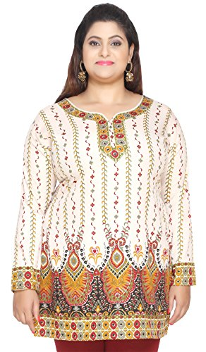 0161e19aed90f Women s Plus Size Indian Kurtis Tunic Top Printed India Clothing