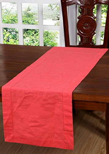 Linen Clubs Slub Cotton Table Runner in Coral Color with Hemstitched Detailing and Mitered Corner Finish on edges-100% Cotton Size 16x108Inch -