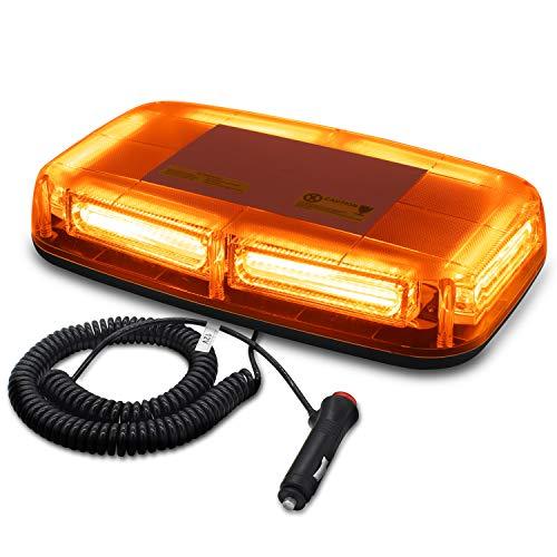 WoneNice Amber 12V 60W 6-COB LED Emergency Warning Flashing Lights Hazard Beacon Lights Bar Recovery Strobe Light with Magnetic Base for Car Vehicle Truck ()