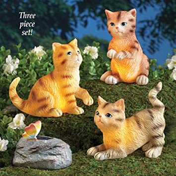Solar Lighted Cat Garden Statue, Set Of 3