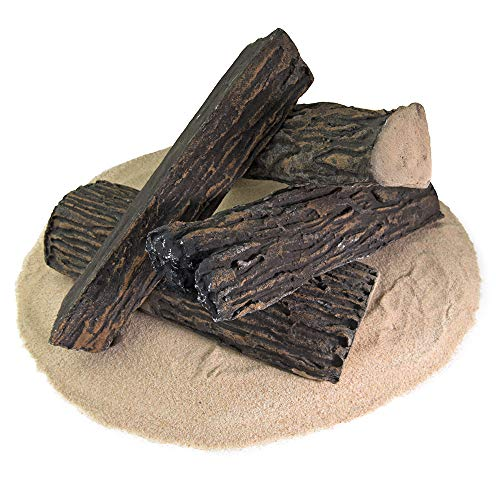 Ceramic Wood Fire Logs | Fireproof Ceramic Decorative Logs for Indoor and Outdoor Fire Pits and Fireplaces - Dark Pine, Set of ()