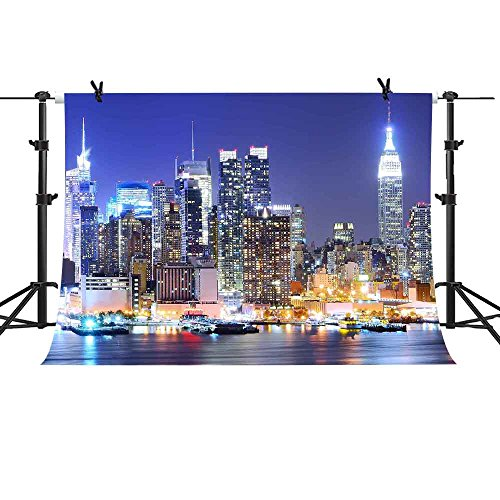 MME 10x7Ft New York City Backdrop Manhattan Night Scene Skyscraper Urban Light Background Video Studio Photo (Party City Backdrop)