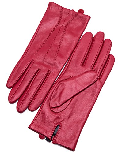 YISEVEN Women's Touchscreen Sheepskin Leather Gloves Three Points and Hand Real Warm Flecce Fur Lined for Ladies Winter Accessories Motorcycle Driving Luxury Dress Work Xmas Gifts, Bright Red 6.5