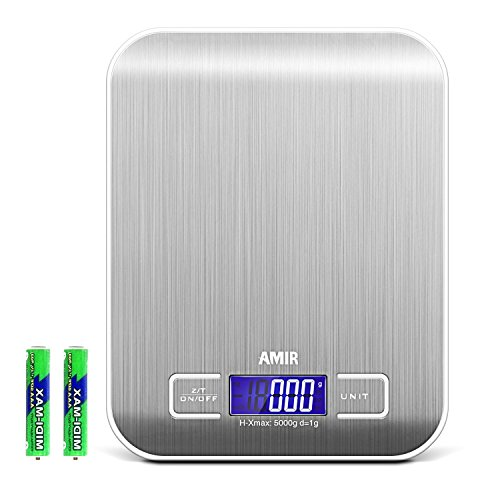 AMIR Digital Kitchen Scale, 5kg, 0.05oz/ 1g Cooking Scale, High Accuracy Food Scale, 6 Units, Back-Lit LCD Display, Tare & Auto Off Function, Stainless Steel & Slim Design Batteries Included (Silver)